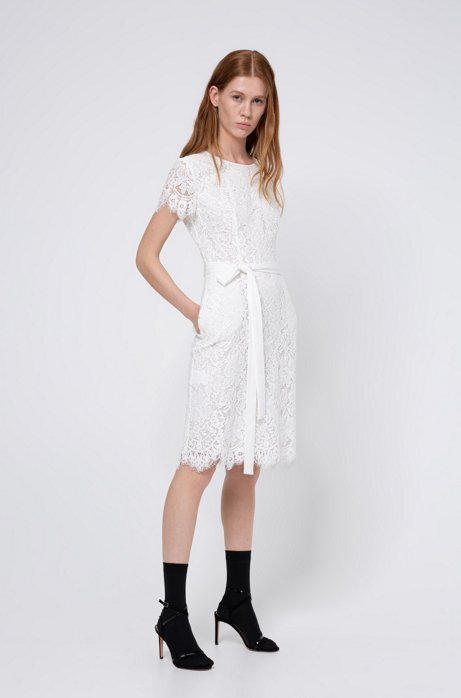 Robe en dentelle à encolure ronde et ceinture brillante, Blanc