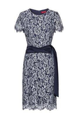 Scoop-neck lace dress with shiny belt, Dark Blue