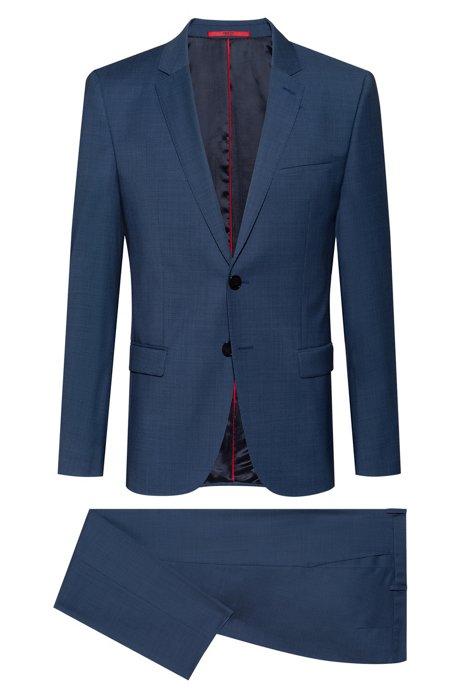 Extra Slim-Fit Anzug aus fein gemusterter Schurwolle, Dunkelblau