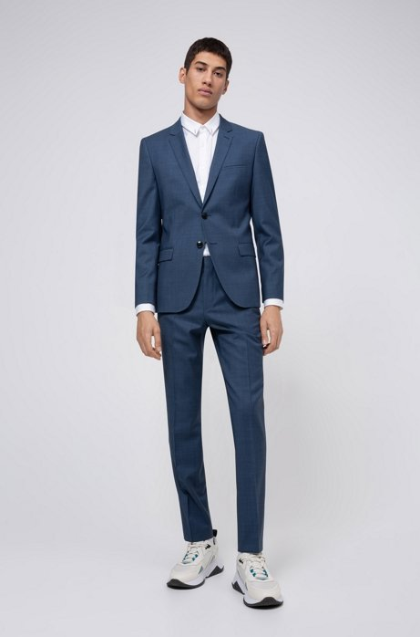 Extra-slim-fit suit in micro-patterned virgin wool, Dark Blue