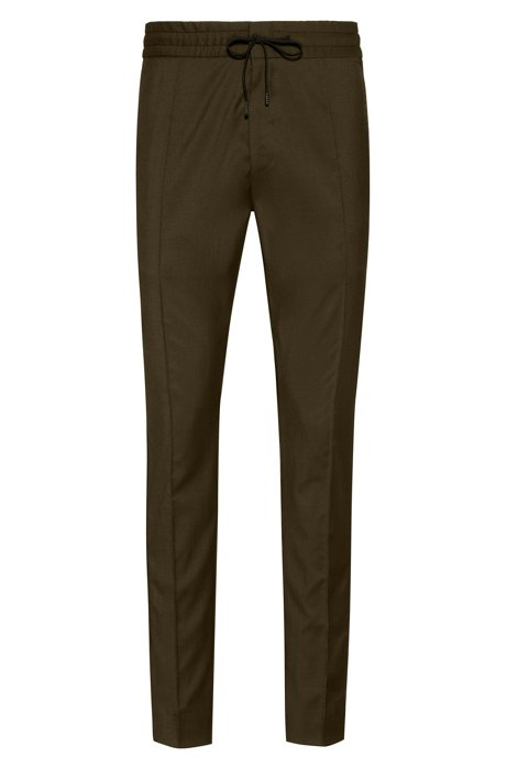 Tapered-fit virgin wool trousers with logo tape, Dark Green