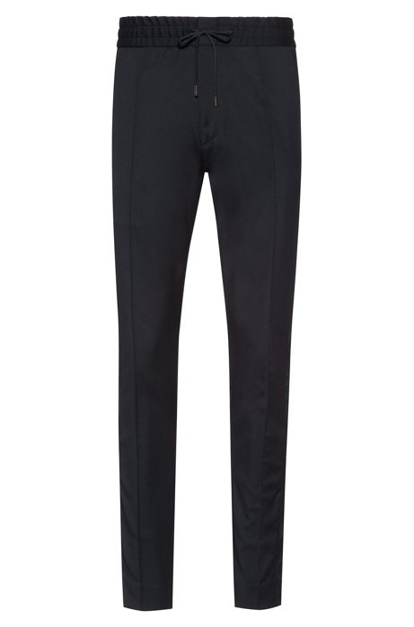 Tapered-fit virgin wool trousers with logo tape, Dark Blue