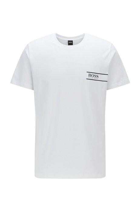 T-shirt Relaxed Fit en coton avec logo sur la poitrine, Blanc