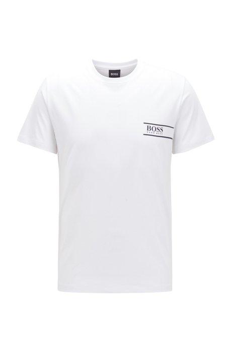 T-Shirt aus Baumwolle mit Logo auf der Brust, Weiß