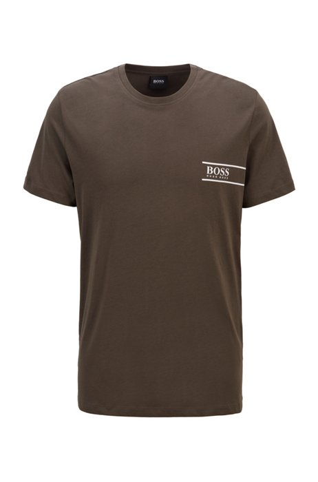 Relaxed-fit cotton underwear T-shirt with chest logo, Dark Green