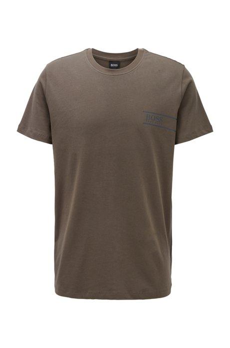 T-shirt Relaxed Fit en coton avec logo sur la poitrine, Vert sombre