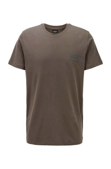 Relaxed-fit underwear T-shirt met logo op de borst, Donkergroen