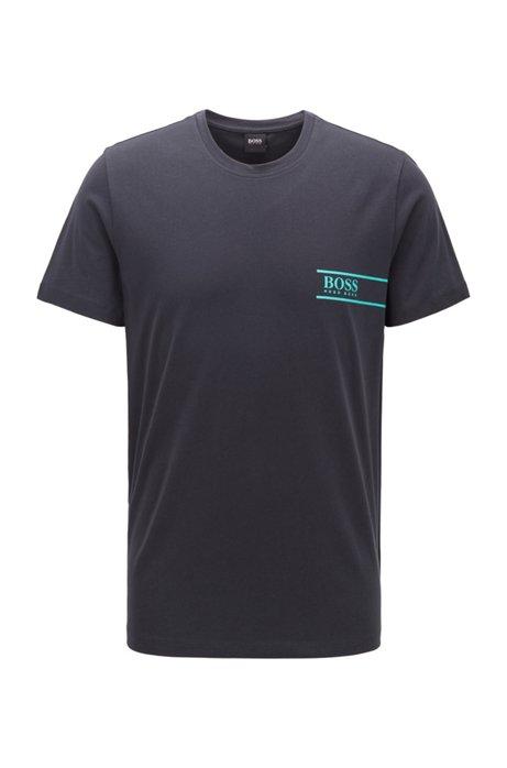 Maglietta intima relaxed fit in cotone con logo sul petto, Blu scuro