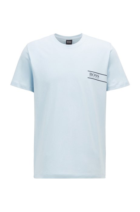 Relaxed-fit cotton underwear T-shirt with chest logo, Light Blue