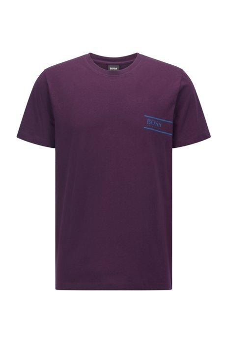 Relaxed-fit cotton underwear T-shirt with chest logo, Dark Purple
