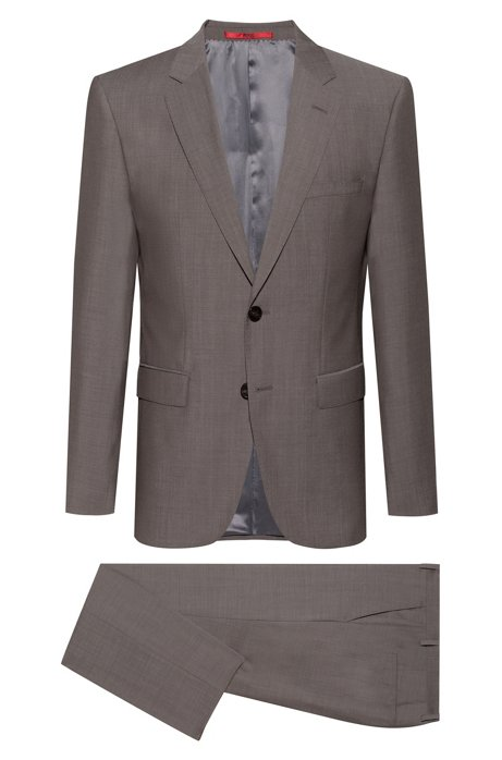 Regular-fit suit in virgin wool with jacquard lining, Anthracite