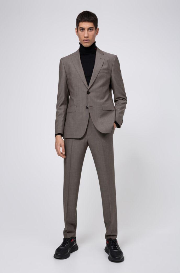 Regular-Fit Anzug aus Schurwolle mit Jacquard-Innenfutter