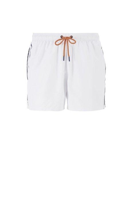 Badeshorts aus schnelltrocknendem Gewebe mit gestricktem Logo-Bund, Weiß