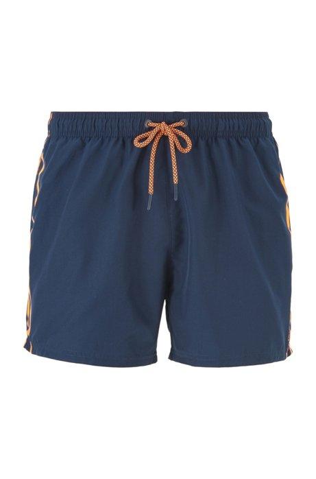 Sneldrogende zwemshort met gebreide tailleband met logo, Donkerblauw