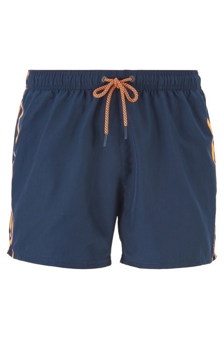 Quick-dry swim shorts with knitted logo waistband, Dark Blue