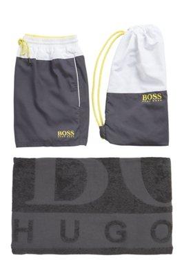 Logo beach set comprising towel, swim shorts and bag, Light Grey