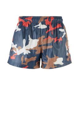 Boxer da mare in tessuto ad asciugatura rapida con stampa camouflage, Blu