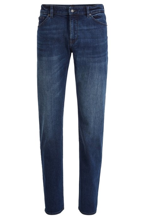 Regular-fit jeans in mid-blue stretch denim, Blue