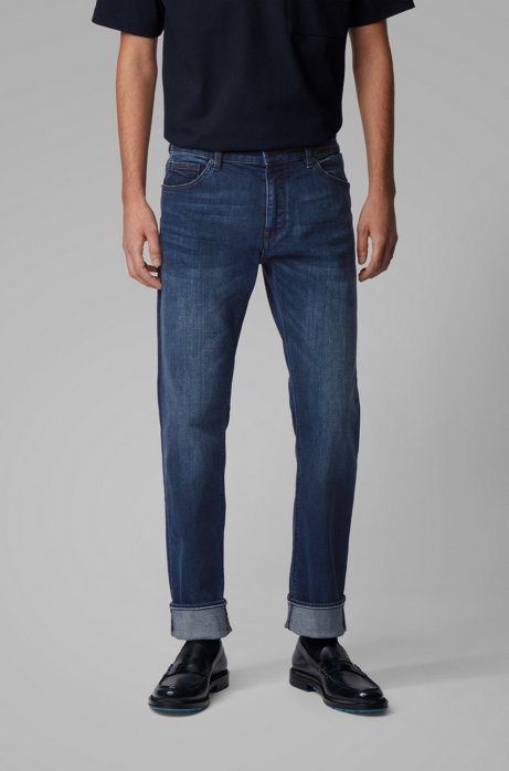 Vaqueros regular fit de denim elástico azul medio, Azul