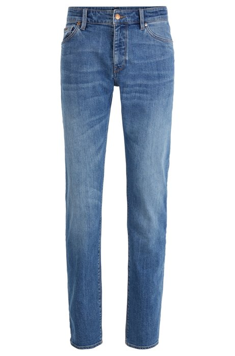Regular-fit jeans van felblauw stretchdenim, Blauw