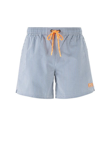Short-length striped swim shorts with contrast logo, Open Blue