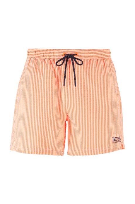 Boxer da mare corti a righe con logo a contrasto, Arancio chiaro