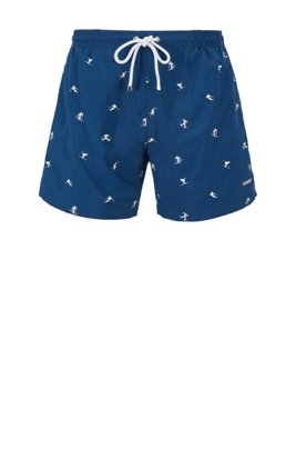 Quick-drying swim shorts with embroidered motif, Blue