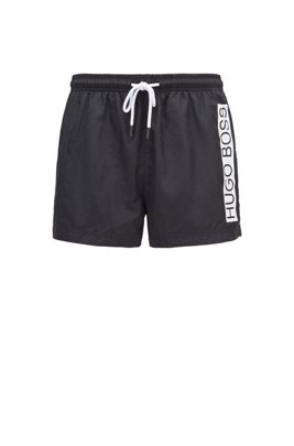 Quick-dry swim shorts with contrast logo, Black
