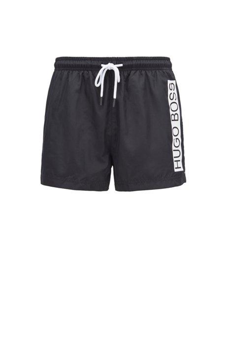 Boxer da mare ad asciugatura rapida con logo a contrasto, Nero