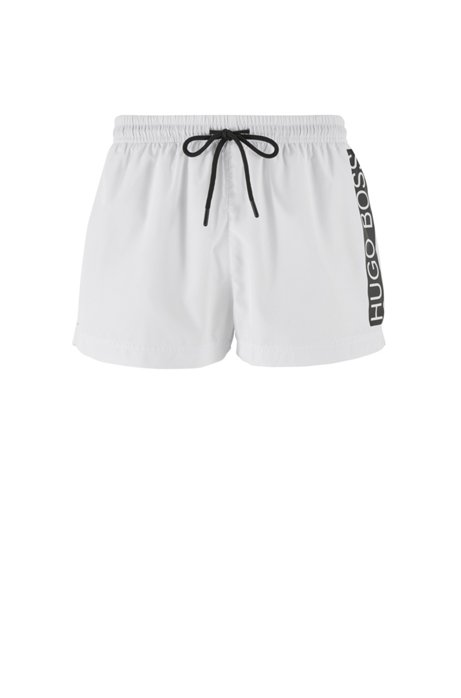 Quick-dry swim shorts with contrast logo, White