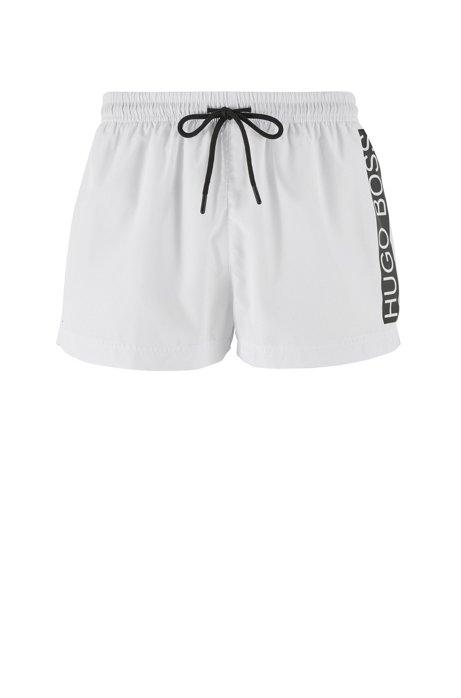 Badeshorts aus schnelltrocknendem Gewebe mit kontrastfarbenem Logo, Weiß