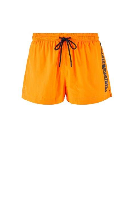 Short de bain en tissu à séchage rapide avec logo contrastant, Orange