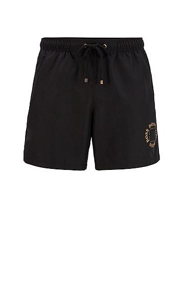 男士金属徽标和饰边装饰速干泳裤,  001_黑色