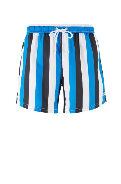 Quick-drying swim shorts with block stripes, Blue