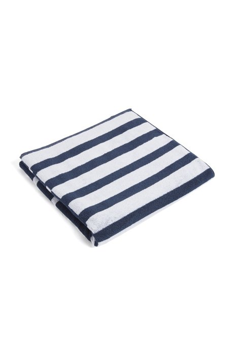 Serviette de plage à logo, en maille éponge de coton à rayures patchwork, Bleu vif