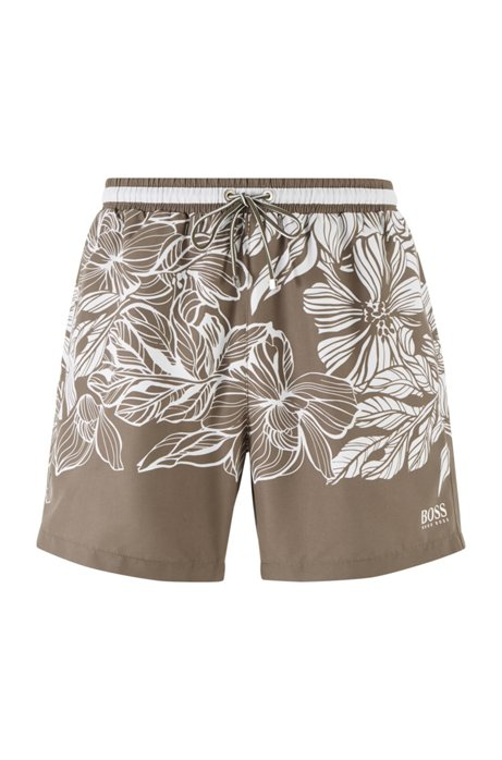 Quick-dry swim shorts with floral print, Open Brown
