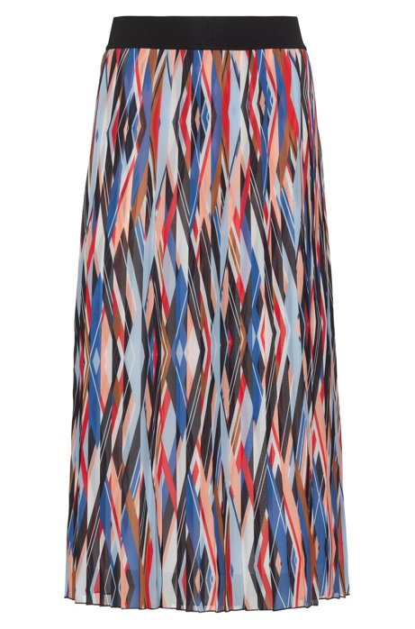 Midi-length plissé skirt with zigzag-stripe print, Patterned