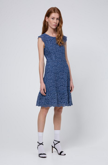 Floral-lace dress with A-line skirt, Blue