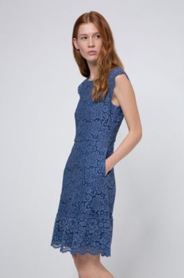 Hugo Floral Lace Dress With A Line Skirt