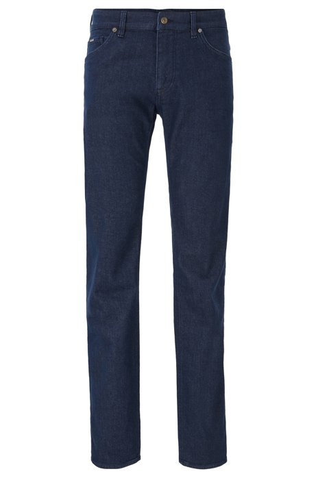 Regular-fit jeans in dark-blue cashmere-touch denim, Dark Blue