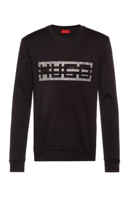 Crew-neck sweatshirt in interlock cotton with studded logo, Black