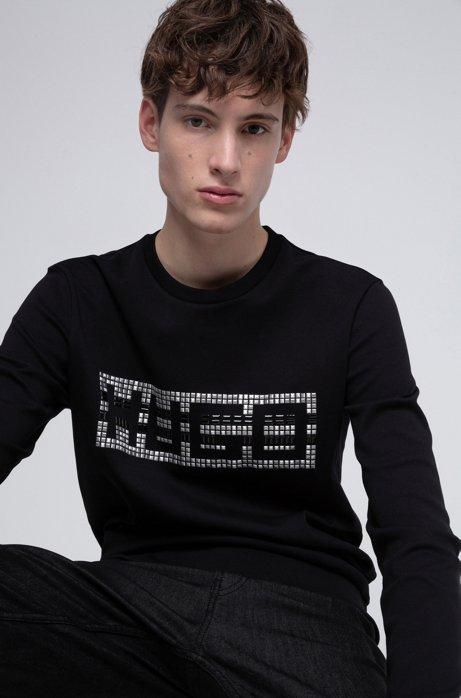 Crew-neck sweatshirt in interlock cotton with studded logo, Black