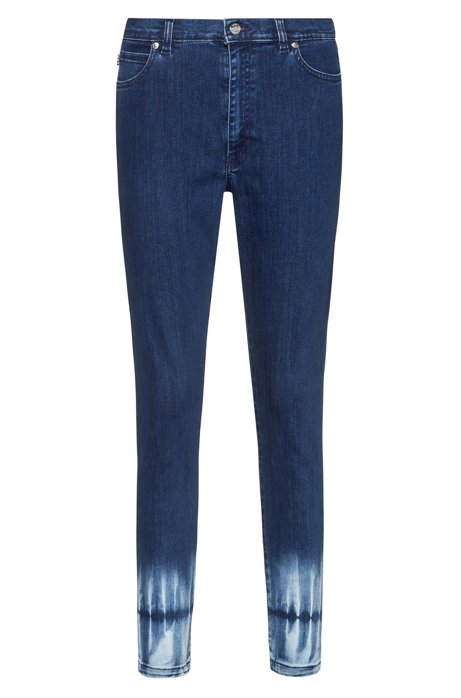 STELLA slim-fit high-waisted jeans with batik hems, Blue