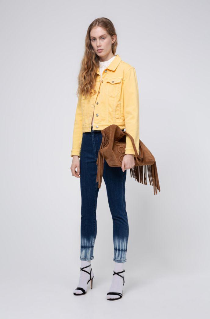 Schmal geschnittene STELLA Jeans mit hohem Bund und Batik-Saum