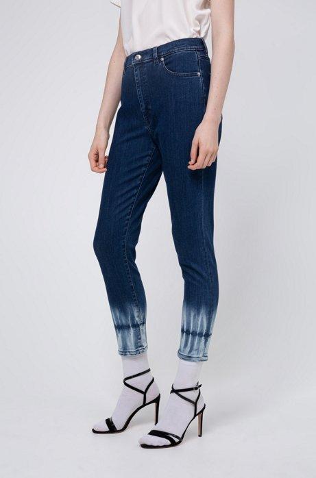 Schmal geschnittene STELLA Jeans mit hohem Bund und Batik-Saum, Blau