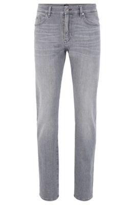 Jeans slim fit in morbidissimo denim elasticizzato grigio, Grigio chiaro