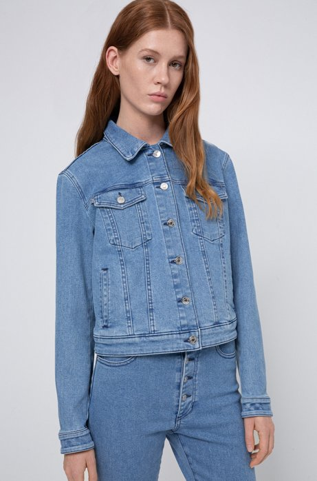 Veste ajustée ALEX en denim stretch à col clouté, Bleu