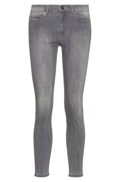 CHARLIE super skinny-fit jeans van zilvergrijs denim, Grijs