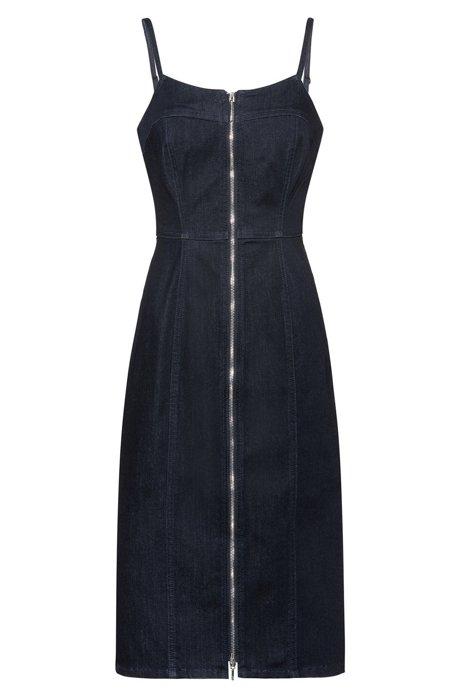 Stretch-denim dress with full-length front zip, Dark Blue