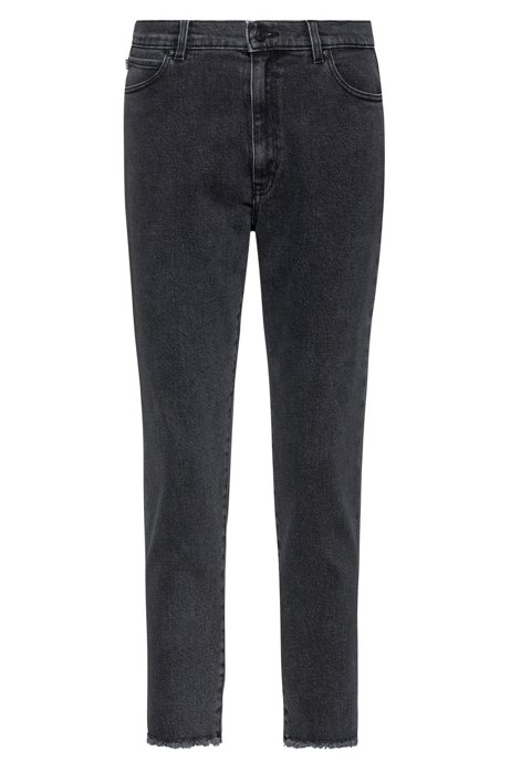 STELLA slim-fit high-waisted jeans with open hems, Dark Grey